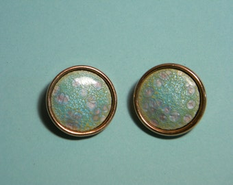 Renoir Copper Enamel Earrings, 60s, Pale Green Pink Accents, Vintage Clip Ons, Signed