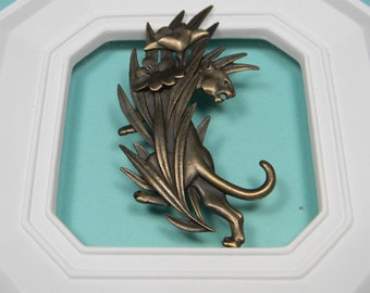 J.J. Lion or Panther Brooch, Jonette Jewelry, 80s Signed, Just Reduced