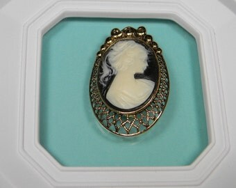 Cameo Brooch or Pin, Brown and White Gold Tone Classic
