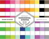 Horizontal Stripes 20 Piece Digital Scrapbook Paper Mega Pack - Personal and Commercial Use - INSTANT DOWNLOAD