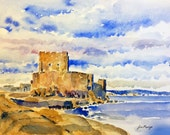 Carrickfergus Castle - Northern Ireland print of watercolour by John Menage size A3 16.5 in x 11.7in
