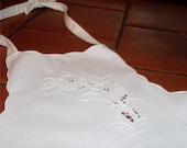 Vintage Linen Chef's Bib Apron, White on White Embroidery