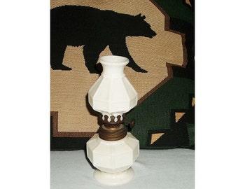 Vintage Mini Oil Lamp, Mood Lighting, Milk Glass Block Pattern  (box 4)