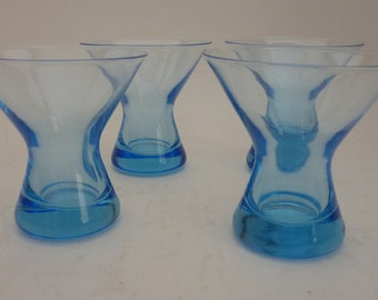 vintage blue cordial glass set of 4
