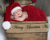 Newborn Santa Hat, Hat, Newborn Hat, Baby Santa Hat, Baby Christmas Hat, crochet santa hat, infant Christmas, Santa Claus