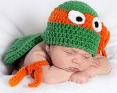 Crochet TMNT Teenage mutant ninja turtles hat  and 2 matching arm bands Newborn -  12 mos.