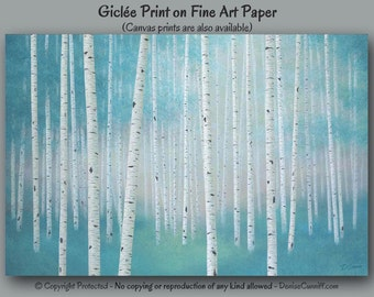 Birch tree art print, Teal and gray wall art, Landscape artwork, Home decor, Turquoise tan Aspen, Office, Master bedroom, Dining room Living