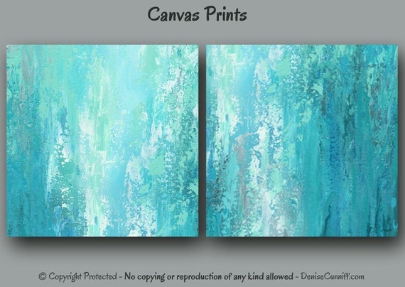 Blue Abstract Wall Decor : Wall art abstract painting canvas print set by