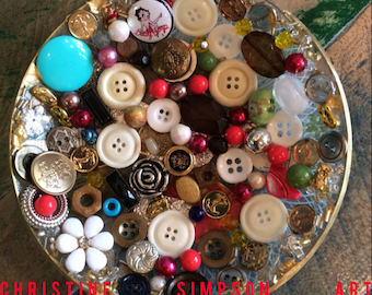 Mixed Media Charm & Button Bowl