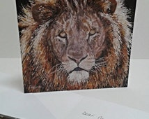 Lion Blank Greeting Card - Cosmo - Big cat african lion mane original art greetings card 142mm x 142mm blank for your own message