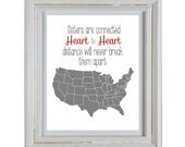 Sisters Love Print - Connected Heart to Heart Distance Will Never Break Them Apart - DIY Printable