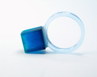 Resin ring. Blue ring Cube, resin jewelry. Cobalt blue, Modern Jewelry. chunky resin. minimal. clear, ice, contemporary OOAKcube