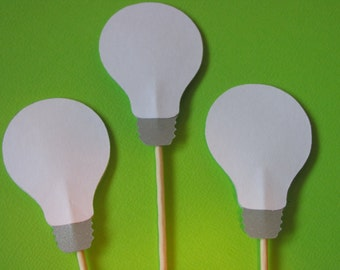 12 Light bulb cupcake toppers