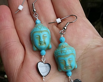 Hematite Heart Swarovski Crystal Buddha Earrings Under 20 Dollars
