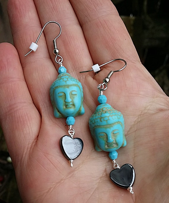 Hematite Heart Swarovski Crystal Buddha Earrings Under 20 Dollars