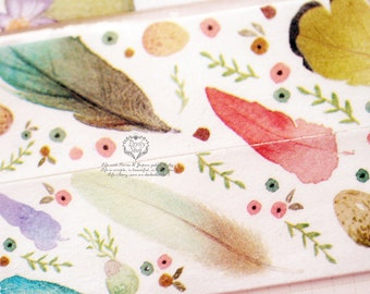 Designers personal special order washi paper masking tape - Limited Edition Color feathers 1 ROLL