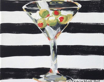 "Martini Bar Art Painting Cocktail Art Canvas 8"" x 10"""