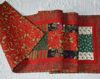Christmas Nostalgia Tablerunner #2  Quilted Reds and Greens