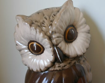 Wall Owl Vintage Ceramic Earthtones Adorable Retro Owl Handpainted Brown Owl