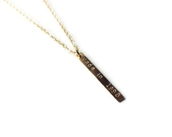 Gold Filled Bar Personalized Necklace - Sterling or Gold Filled ID Necklace - Gold Filled or Sterling Initial Necklace