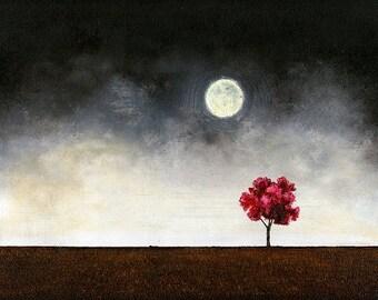 "Art print // Red tree - moonlight // ""The moon's fault""."