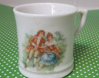 Vintage Pottery Child Cup Romantic Man & Woman 2 inches T27