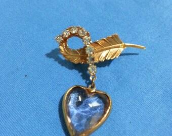 Cute Little Rhinestone Leaf Pin With Dangling Heart