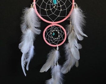 Items similar to dream catcher black crescent moon with for How to make a double ring dreamcatcher
