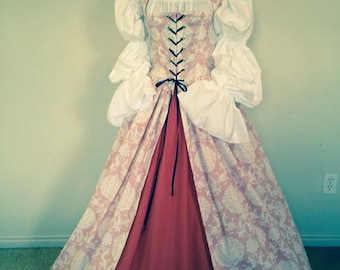 Peach Renaissance Over Gown Dress skirt and blouse  3 Piece !  Made for you!