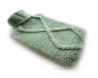 Green Lozenge Knit Hot-water Bottle Cover