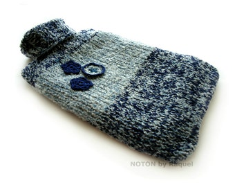 Blue Flowers Knit Hot-water Bottle Cover