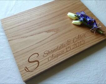 Oak Serving Board - Wedding Gift -16 x 12 x 1 in Custom Chopping Block - Personalized Wood Cutting Block - Wooden Chopping Board