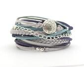 Mother's Day, Boho Wrap Bracelet, Silver Gray Blue Bracelet, Silver Gray Turquoise Bracelet, Boho Bracelet, Gypsy Bracelet, double wrap