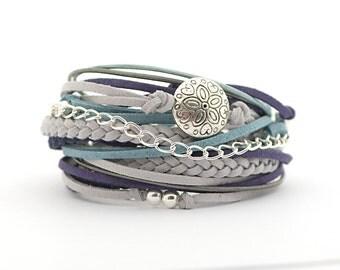 Romantic gifts, Navy Gray Silver Boho Wrap Bracelet, Boho Jewelry, Gray Turquoise Hippie Gypsy Bracelet, gift idea for woman