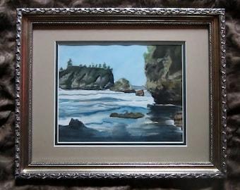 Vintage Watercolor Original Framed Art Washington Coast Near Kalaloch by Jean Fredrich