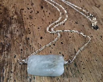 Aquamarine Necklace - Calming, Gemstone of Courage - sterling silver