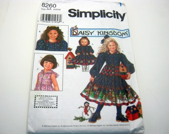 Simplicity 8260 1990's Daisy Kingdom Girly Frilly Hoodie Dress Long Size  3,4,5,6 Children 1998 Out of Print