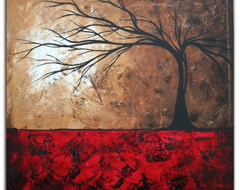 Abstract Tree Art 'Lost in the Forest' Modern Wall Decor Giclee on Metal, Contemporary Landscape Red Brown Trees Artwork by Megan Duncanson