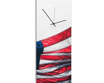 Patriotic Wall Clock 'US Flag Clock' Red White & Blue Contemporary Star Spangled Banner Decor, Modern Metal American Clocks 100% Made in USA