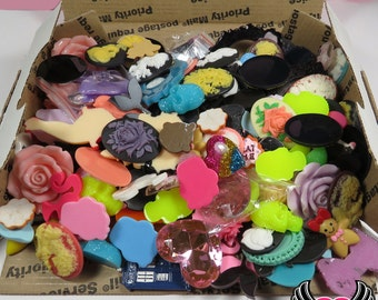 DESTASH Priority Mail Box Filled with Kawaii Cabochons & 30x40mm Resin Cameos