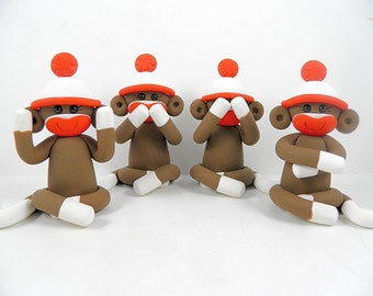 Four Wise Sock Monkeys See No Evil Speak No Evil Hear No Evil Do No Evil Polymer Clay