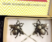 Silver Bee Raw Brass Bumble Bee Bobby Pins New Trendy