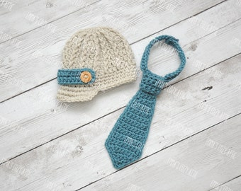 Crochet newsboy hat, newborn baby newsboy hat, baby boy hat, newborn newsboy hat, baby boy coming home outfit, newborn photo prop, necktie