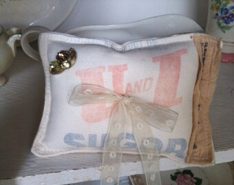 Sugar sack ring bearer pillow, shabby chic ring pillow, rustic wedding, farmhouse wedding