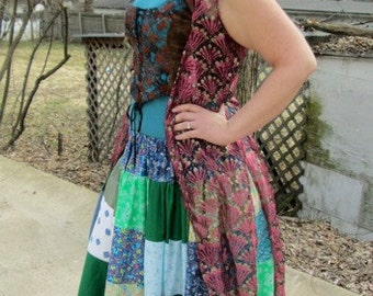 Patchwork Plus Size Skirt with Blues and Greens