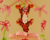 Nursery Mobile -  Winnie Pooh Tigger - Crib Mobile - Baby Mobile - Cheap Mobile - Girl Mobile - Quilling - Quilled Mobile 19B