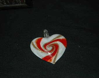 Red and White Murano Glass Heart 235D