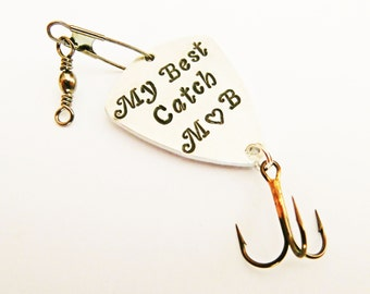 Custom Fishing Lure, Personalized Fishing Lure, Best Catch Lure, Fishing Lure Gift, Engraved For Him, Husband Gift, Wedding Gift, 2 initials
