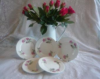 Vintage set of Shelley Tea plates pink roses