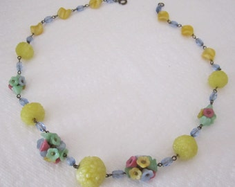 1930s Bohemian satin glass flower necklace. glass flower necklace. flower jewelry; vintage jewelry